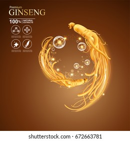 Collagen Serum and Vitamin Background Concept Ginseng Skin Care Cosmetic.