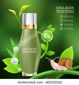 Collagen or Serum and Vitamins Template for Cosmetic Packaging Design.