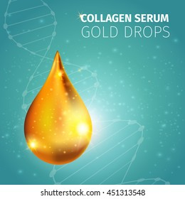 Collagen solution golden drop with illuminated glossy surface sparks on blue spotty background with dna vector illustration