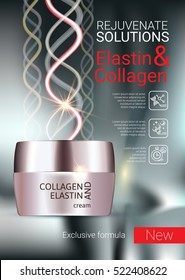 Collagen solution intensive cream ads. Vector Illustration with Collagen and Elastin cream container.