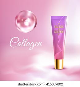 Collagen solution intensive cream tube pink background advertisement poster for pharmaceutical and cosmetics products realistic vector illustration