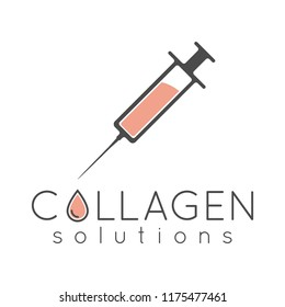 Collagen solutions logo with injection and custom text with collagen drop.