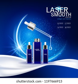Collagen and Vitamins on Laser Background Vector for Cosmetics  Products and Skin Cares Banner Template