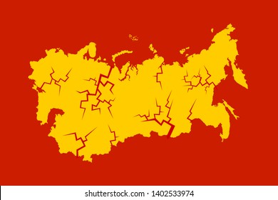 Collapse, dissolution and disintegration of Soviet union. Crack and break in the socialist and communist country and state. Vector illustration