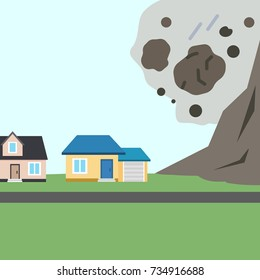 The collapse of mountain to buildings. Rockfall. Stones fall from the mountain. Vector Illustration