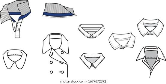 Collar assorted fashion flat templates