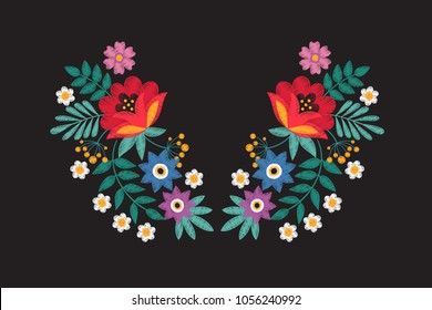 Collar embroidery floral design with wildflowers. Stitching detail tribal necklace with flowers isolated vector illustration. Floral colored embroidery with flower bouquet and green leaf