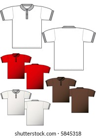 Collar ribbed T-shirt back and front - Layout for presentation - vector