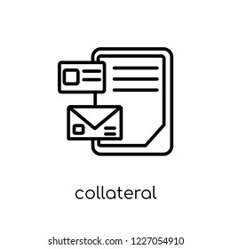 collateral icon. Trendy modern flat linear vector collateral icon on white background from thin line Collateral collection, outline vector illustration