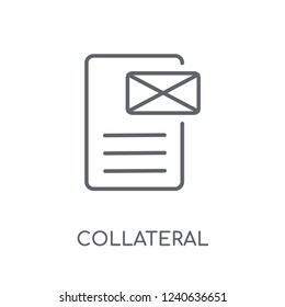 Collateral linear icon. Modern outline Collateral logo concept on white background from business collection. Suitable for use on web apps, mobile apps and print media.