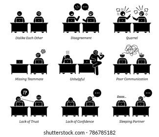 Colleague and business partners working together inefficiently in workplace office. The business team has disagreement, quarrel, and poor communication skill. They dislike and distrust each other.