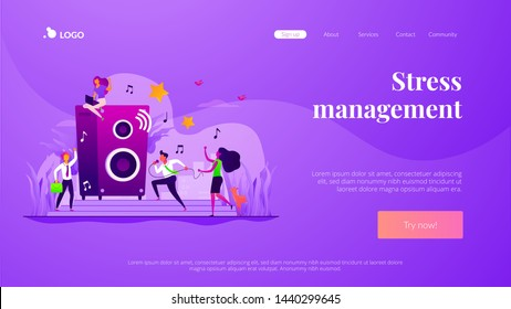 Colleagues at corporate party. Employees characters relaxing after work day. Rest breaks at work, office fun and games and stress management concept. Website homepage header landing web page template.