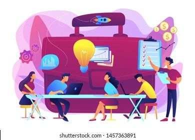 Colleagues meeting. Team brainstorming. Corporate training. Business briefing, teamwork task discussion, business strategy communication concept. Bright vibrant violet vector isolated illustration