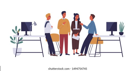 Colleagues in office flat vector illustration. Coworkers relaxing, chatting cartoon characters. Corporate worker, business people communicate. Coworking open space isolated clipart on white background