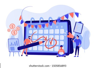 Colleagues preparing for corporate party. Time management, deadline. Brand event. Event brand management, sponsored event organization concept. Bright vibrant violet vector isolated illustration