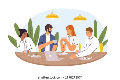 Colleagues sitting at dining table at coffee break, chatting and discussing business together. Team of people eating cake in office. Colored flat vector illustration isolated on white background