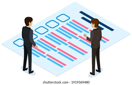 Colleagues studying questionnaire. Male characters checking exam. Stack of blank survey checklist sheets. Test writing and grading concept. Men standing near big checklist vector illustration