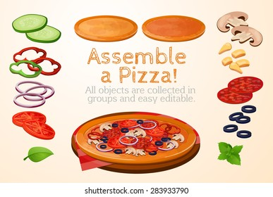 collect, assemble, fast food, Pizza, Italian, ingredients, toppings