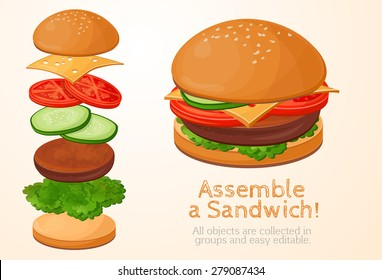 collect, assemble, Hamburger, sandwich filling, kolelktsiya, fast food