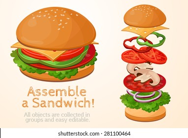 collect, assemble, Hamburger, sandwich filling, fast food