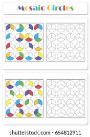 Collect the correct sequence of elements. Mosaic circles divided into three parts