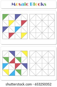 Collect the correct sequence of elements. Triangle mosaic blocks