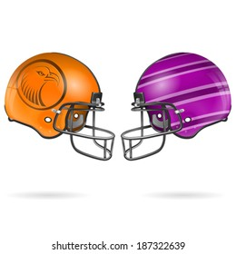 Collect Detailed American Football Helmets, easy to change colors, vector isolated on white background