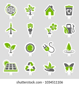 Collect Environment Icons Sticker Set with Tree, Leaf, Light Bulb, Recycling Symbol. Vector in two colours illustration