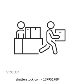 collect and pick up order icon, package or box courier delivery, receive desk, place issue here, thin line symbol on white background - editable stroke vector illustration eps10