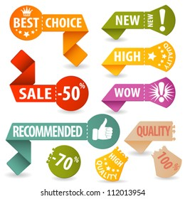 Collect Sale, Shopping and Quality Signs with Tear-off Coupon and Icons, vector illustration