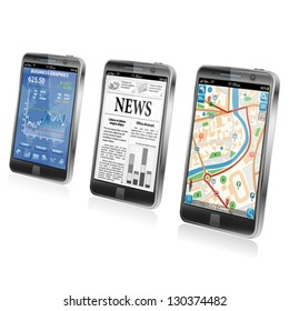 Collect Smartphone Applications - Stock Market, Business News, GPS Navigation, icon isolated on white, vector