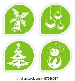 Collect sticker with Christmas icon, tree, snowman, bauble and bell, vector illustration