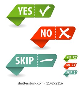 Collect Sticker with Yes, No and Skip Check Mark, isolated on white, vector illustration