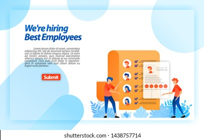 Collect worker personal data or job seeker resumes to recruiting best prospective employees. we're hiring. vector illustration concept for landing page, ui ux, web, mobile app, poster,banner,flyer,ads