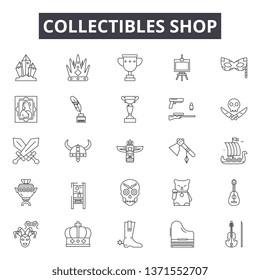 Collectibles shop line icons, signs set, vector. Collectibles shop outline concept, illustration: shop,store,deold,business,vintage,flat
