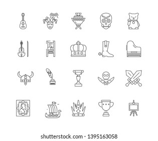 Collectibles shop line icons, signs, vector set, outline illustration concept