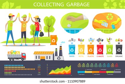 Collecting garbage and statistical charts set vector illustration, cheerful people which cleaned park from rubbish, visualization of recycling process