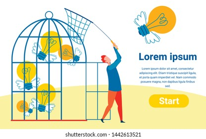 Collecting Ideas Flat Vector Landing Page Template. Cartoon Man with Butterfly Net Keeping Winged Lightbulbs in Birdcage. Gathering Startup Innovation Projects Webpage Design Layout