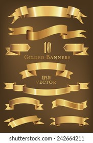 Collection of 10 golden banners vector illustration.