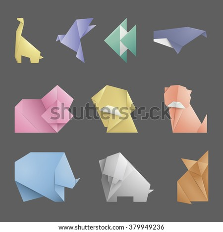 Collection 10 Simple Origami Symbolicon Animals Origami Stock Vector