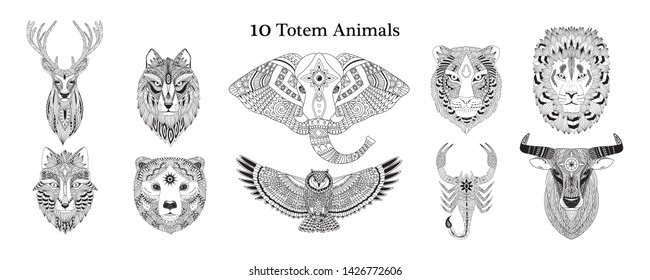Collection of 10 totem animals: deer, wolf; elephant, tiger, lion, fox, bear, owl, scorpion, bull. Vector illustration in zentangle style. Coloring page, print, vinyl sticker design.