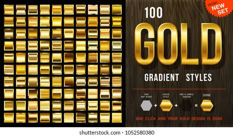 Collection from 100 vector gold gradient styles, golden glossy materials with contour. EPS10