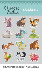 Collection of 12 Chinese Zodiac animal stickers, cartoon vector illustration