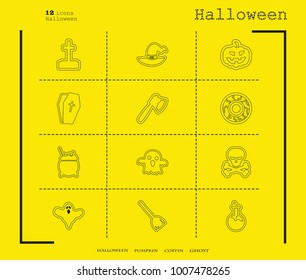 Collection of 12 halloween icons. Vector illustration in thin line style