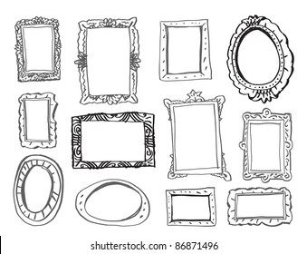 Collection of 12 picture frames for any pictures.