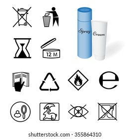 Collection of 12 symbols depicted on the packaging of cosmetics. Vector Illustration EPS10