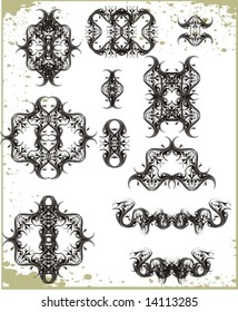collection of 12 vector  floral ornaments & frames,borders