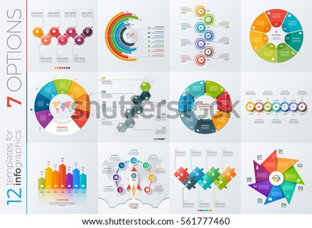 collection 12 vector templates infographics 7 のベクター画像素材
