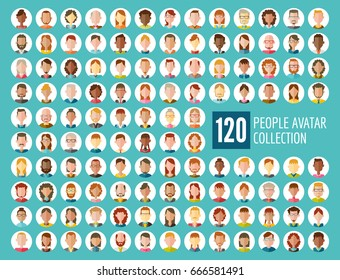 Collection of 120 different people avatars in flat design.  Diverse type of people with different nationalities, ages, clothing and hair styles. Round vector icons isolated on white background.
