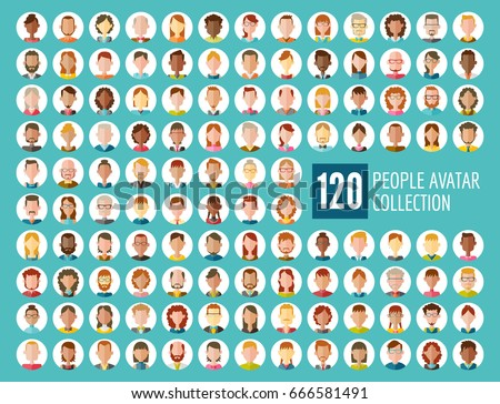 95fa44c502 Collection of 120 different people avatars in flat design. Diverse type of  people with different